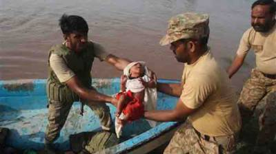 Army launches rescue operation in flood affected areas of Dadu August 08, 2020