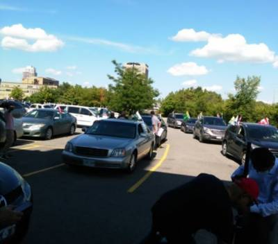 Car rally organized in Canada to express solidarity with Kashmiris of IIOJ&K August 10, 2020