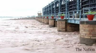 River Chenab still in high flood at Head Marala , Aug 28, 2020