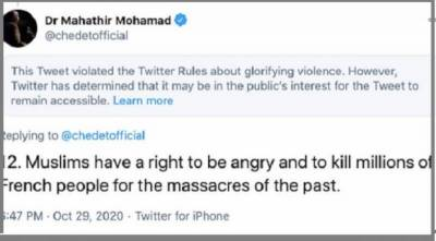 Former Malaysian PM Mahatir Mohammad claims Muslims have right to kill french over blasphemy issue