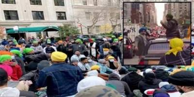 Hundreds of Sikhs stage strong demonstration near Indian consulate in New York against PM Modi government