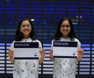 Two Pakistani twin sisters received Microsoft certification for Power Platform Professionals at age of 10