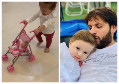 Shahid Afridi shares video of her daughter first step (VIDEO)