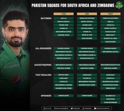 Pakistan squad for South Africa and Zimbabwe series announced