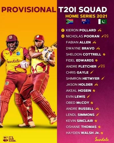 West Indies announces T20 squad for series against Pakistan
