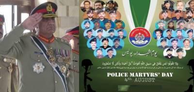 COAS General Qamar Bajwa pair tributes to Pakistani cops on police martyrs day
