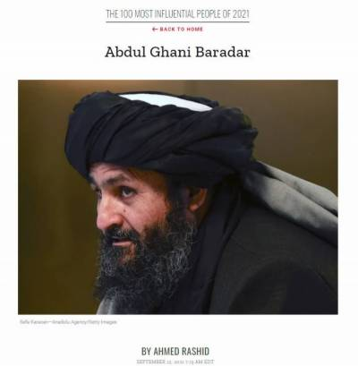 Taliban Commander Mullah Baradar listed among 100 most influential people by TIME